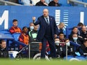 Everton manager Rafael Benitez gives instructions to his players on October 17, 2021