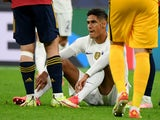 France's Raphael Varane after sustaining an injury against Spain in the Nations League in October 2021