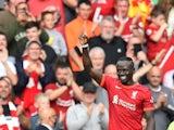 Liverpool's Sadio Mane celebrates scoring their first goal on September 18, 2021
