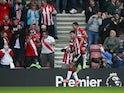 Southampton's Armando Broja celebrates scoring their first goal on October 16, 2021