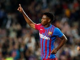 Ansu Fati in action for Barcelona in October 2021