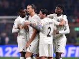 AC Milan's Zlatan Ibrahimovic celebrates scoring their fourth goal with teammates on October 23, 2021