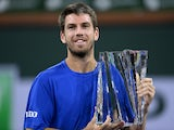 Cameron Norrie celebrates winning the Indian Wells Masters on October 18, 2021