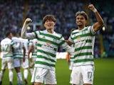 Celtic's Kyogo Furuhashi celebrates scoring their first goal with Jota on October 19, 2021
