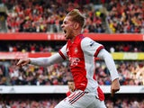 Emile Smith Rowe celebrates scoring for Arsenal in September 2021