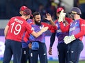 England celebrate another wicket during T20 World Cup win over West Indies on October 23, 2021.