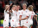 England's Bethany Mead celebrates scoring their third goal against Northern Ireland in World Cup Qualifying on October 23, 2021