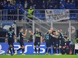 Inter Milan's Edin Dzeko celebrates scoring their first goal with teammates on October 19, 2021