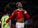 Marcus Rashford in action for Manchester United in October 2021