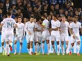 Manchester City's Riyad Mahrez celebrates scoring their second goal with teammates on October 19, 2021