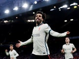 Liverpool's Mohamed Salah celebrates scoring their fifth goal and his hat-trick on October 24, 2021