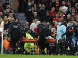 Liverpool's Naby Keita is taken off on a stretcher after sustaining an injury on October 24, 2021