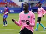 Barcelona's Ousmane Dembele reacts in May 2021