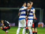 Queens Park Rangers' Yoann Barbet celebrates with Rob Dickie after the match on October 19, 2021