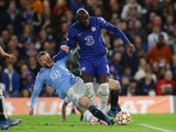 Chelsea forward Romelu Lukaku suffers an injury when challenged by Malmo defender Lasse Nielsen on October 20, 2021.