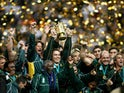 South Africa's captain John Smit and team mates celebrate with the webb ellis trophy in 2007
