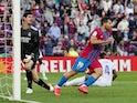 Barcelona's Sergio Aguero celebrates scoring against Real Madrid on October 24, 2021