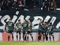 Sporting Lisbon's Pablo Sarabia celebrates scoring their third goal with teammates on October 19, 2021
