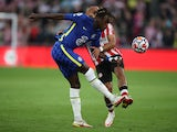 Chelsea defender Trevoh Chalobah clearing the ball against Brentford on October 16, 2021