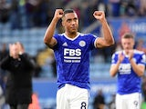 Leicester City's Youri Tielemans celebrates after the match against Manchester United on October 16, 2021