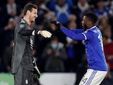 Leicester City's Danny Ward and Kelechi Iheanacho celebrate winning the penalty shootout on October 27, 2021