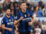 Inter Milan's Ivan Perisic celebrates scoring their first goal against Lazio on October 16, 2021