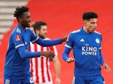 Leicester City's James Justin celebrates scoring their first goal with Wilfred Ndidi on January 9, 2021