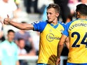 Southampton's James Ward-Prowse celebrates scoring their second goal against Newcastle United on August 28, 2021