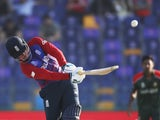 England opener Jason Roy going on the attack against Bangladesh at the T20 World Cup on October 27, 2021.