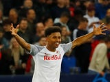 Karim Adeyemi celebrates scoring for Red Bull Salzburg in September 2021