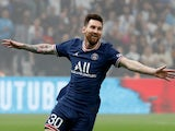 Paris St Germain's Lionel Messi celebrates after Olympique de Marseille's Luan Peres scores an own goal which is later disallowed on October 24, 2021