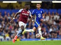 Aston Villa midfielder Marvelous Nakamba playing against Chelsea on September 11, 2021.