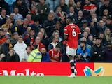 Manchester United's Paul Pogba walks off the pitch after being sent off on October 24, 2021