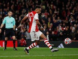 Pierre-Emerick Aubameyang in action for Arsenal on October 22, 2021