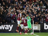 West Ham United celebrate after winning a penalty shootout against Manchester City in the EFL Cup on October 27, 2021