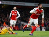 Olivier Giroud celebrates his scorpion kick against Crystal Palace for Arsenal on January 1, 2017