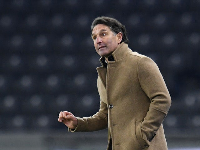 Hertha Berlin coach Bruno Labbadia celebrates at the end of the match on January 2, 2021