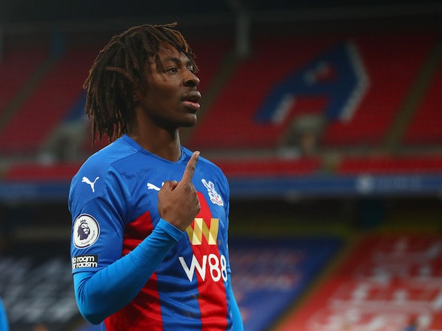 Crystal Palace winger Eberechi Eze celebrates scoring against Sheffield United on January 2, 2021