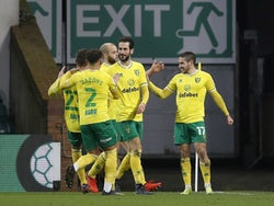 Norwich City's Emiliano Buendia celebrates scoring their first goal against Barnsley on January 2, 2021