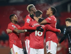 Bruno Fernandes celebrates scoring for Manchester United against Aston Villa in the Premier League on January 1, 2021