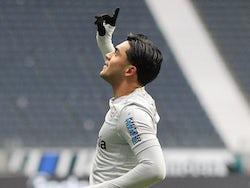 Bayer Leverkusen's Nadiem Amiri celebrates scoring their first goal on January 2, 2021