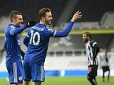 Leicester City's James Maddison celebrates scoring against Newcastle United in the Premier League on January 3, 2021