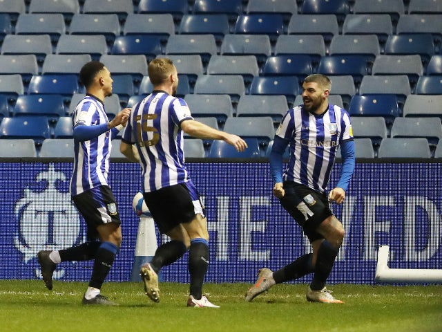 Callum Paterson celebrates scoring for Sheffield Wednesday against Derby County on January 1, 2021