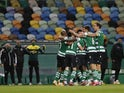 Sporting Lisbon's Pedro Goncalves celebrates scoring their first goal with teammates