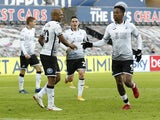 Swansea City's Jamal Lowe celebrates scoring their first goal against Watford on January 2, 2021