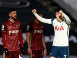 Son Heung-min celebrates scoring for Tottenham Hotspur against Leeds United in the Premier League on January 2, 2021