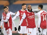 Alexandre Lacazette celebrates scoring for Arsenal against West Bromwich Albion in the Premier League on January 2, 2021